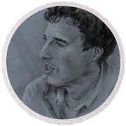 Portrait Of Young Man 19 Round Beach Towel