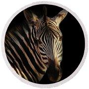 Portrait Of Zebra Round Beach Towel