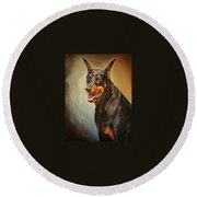 Portrait Of Zeus Round Beach Towel