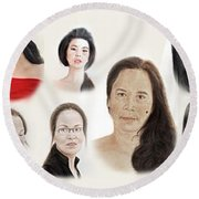 Portraits Of Lovely Asian Women II Round Beach Towel