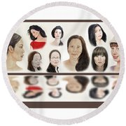 Portraits Of Lovely Asian Women  Round Beach Towel