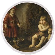 Portraits Of Two Boys In A Landscape One Dressed As A Hunter The Other St As John The Baptist Round Beach Towel