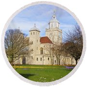 Portsmouth Cathedral At Springtime Round Beach Towel