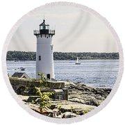 Portsmouth Harbor Light Round Beach Towel
