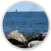 Portsmouth Harbor Lighthouse Round Beach Towel