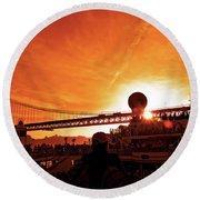 Sunset Under The 25 April Bridge Lisbon Round Beach Towel