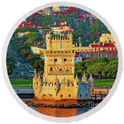 Lisbon Belem Tower From The River Round Beach Towel