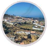Portugese Hillside Village Round Beach Towel