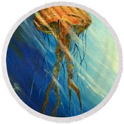 Portuguese Man Of War Round Beach Towel