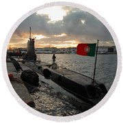 Portuguese Navy Submarine Round Beach Towel