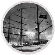 Portuguese Tall Ship Round Beach Towel