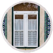 Portuguese Window Round Beach Towel