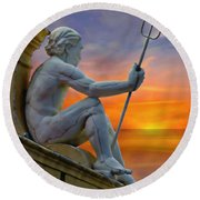 Poseidon - God Of The Sea Round Beach Towel