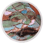 Post Carnival Blues Tile Round Beach Towel