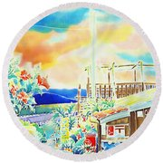 Post Office In The Island Round Beach Towel