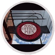 Post Office Pies Round Beach Towel