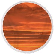 Post Sunset Clouds Round Beach Towel