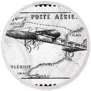 Postage Stamp: Bleriot Round Beach Towel
