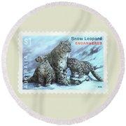 Postage Stamp - Snow Leopard By Kaye Menner Round Beach Towel