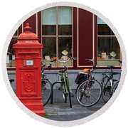 Postbox And Bicycles In Front Of The Diamond Museum In Bruges Round Beach Towel