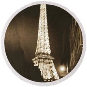 Postcard From Paris- Art By Linda Woods Round Beach Towel