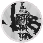 Postcards From Big Ben  Round Beach Towel