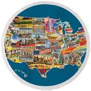 Postcards Of The United States Vintage Usa All 50 States Map Round Beach Towel
