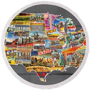 Postcards Of The United States Vintage Usa Lower 48 Map On Gray Wood Background Round Beach Towel