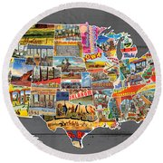 Postcards Of The United States Vintage Usa Map On Gray Wood Background Round Beach Towel