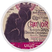 Poster Advertising An Exhibition Of The Collection Du Chat Noir Cabaret Round Beach Towel