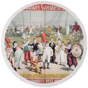 Poster Advertising The Barnum And Bailey Greatest Show On Earth Round Beach Towel