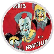 Poster Advertising The Fratellini Clowns Round Beach Towel