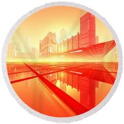 Poster-city 1 Round Beach Towel