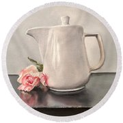 Pot Of Coffee And A Paper Rose Round Beach Towel