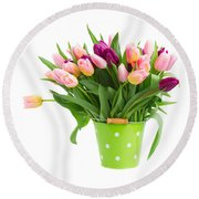 Pot Of Pink And Violet Tulips Round Beach Towel