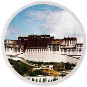 Potala Palace Dalai Lama Home Place. Tibet Kailash Yantra.lv 2016  Round Beach Towel