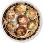 Potato Cutlets With Chicken Filling Round Beach Towel