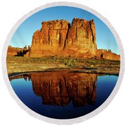 Pothole Reflections - Arches National Park Round Beach Towel
