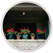 Pots In The Window Round Beach Towel