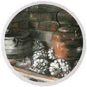 Pots Of A Fireplace Round Beach Towel