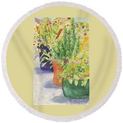 Potted Beauties  Round Beach Towel