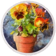 Potted Pansy Pencil Round Beach Towel
