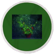Potted Plant Round Beach Towel