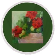Potted Red Geraniums Round Beach Towel