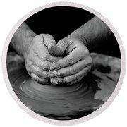 Potters Wheel Creation Round Beach Towel
