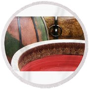 Pottery Abstract Round Beach Towel
