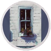 Pottery Store Window Round Beach Towel