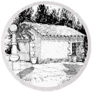 Potting Shed At Le Coin Retro In Le Thor France Round Beach Towel