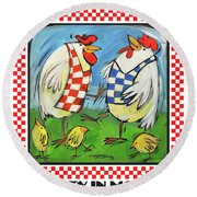 Poultry In Motion Poster Round Beach Towel