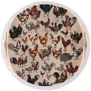 Poultry Of The World Poster Round Beach Towel